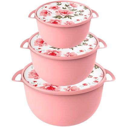 Conjunto de Caçarolas Rosa Com Tampa Floral