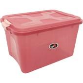 Caixa Organizadora Com Tampa e Trava 30 litros - Rosa
