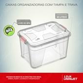 Caixa Organizadora Com Tampa e Trava 30 litros - Transparente