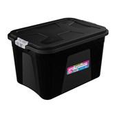 Caixa Organizadora Com Tampa e Trava 56 litros - Preto