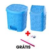 Kit Com 2 Cestos Pia e Pedal Azul + Rodinho