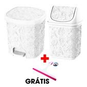 Kit Com 2 Cestos Pia e Pedal Branco + Rodinho