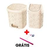 Kit Com 2 Cestos Pia e Pedal Palha + Rodinho