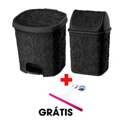 Kit Com 2 Cestos Pia e Pedal Preto + Rodinho