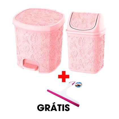 Kit Com 2 Cestos Pia e Pedal Rosa + Rodinho