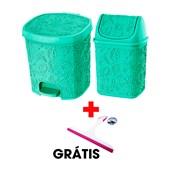 Kit Com 2 Cestos Pia e Pedal Verde + Rodinho
