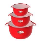 Kit Com 3 Caçarolas Com Tampa Milano 3,2/6,5/11,5 Litros - Vermelho