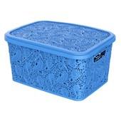 Kit Com 3 Caixas Organizadoras Renda Floral Azul + Cestos