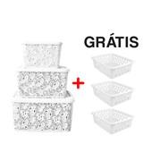 Kit Com 3 Caixas Organizadoras Renda Floral Branco + Cestos