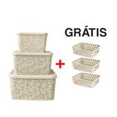Kit Com 3 Caixas Organizadoras Renda Floral Palha + Cestos