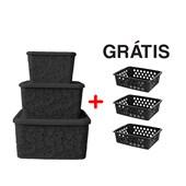 Kit Com 3 Caixas Organizadoras Renda Floral Preto + Cestos
