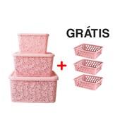 Kit Com 3 Caixas Organizadoras Renda Floral Rosa + Cestos