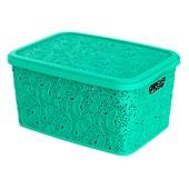Kit Com 3 Caixas Organizadoras Renda Floral Verde + Cestos