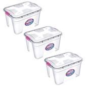 Kit Com 3 Caixas Organizadoras Transparente 12 Litros