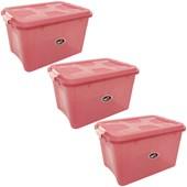 Kit Com 3 Caixas Organizadoras Up House 12 Litros - Rosa