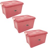 Kit Com 3 Caixas Organizadoras Up House 20 Litros - Rosa