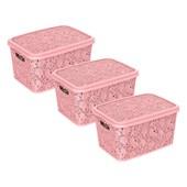 Kit Com 3 Caixas Renda Floral 10 Litros - Rosa