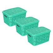 Kit Com 3 Caixas Renda Floral 10 Litros - Verde