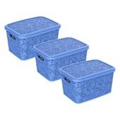Kit Com 3 Caixas Renda Floral 17 Litros - Azul