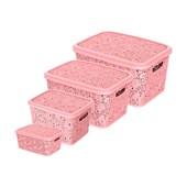 Kit Com 4 Caixas Renda Floral 2,2/5,5/10/17 Litros - Rosa